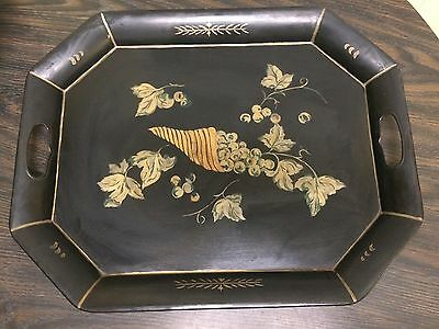 Black Hand Painted Metal Toleware Tray Gold Grapes & Leaf Design