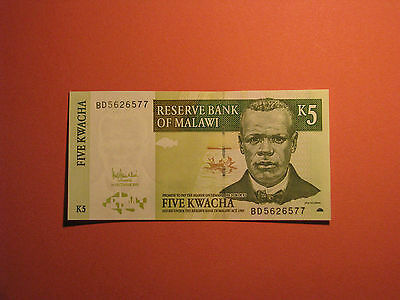 MALAWI Banknote 5 Kwacha 2005 Paper Money Currency Bill bank note