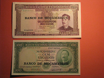 Mozambique 2 Banknotes 100 & 500 Escudos Year ND 1976 Uncirculated Bank Currency