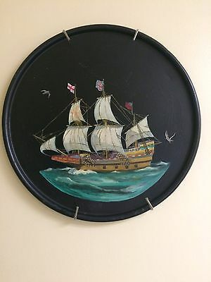 Hand Painted Schooner Round Metal Toleware Tray Ship Maritime Seagulls