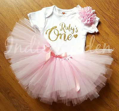 Pink Gold Girls Baby One 1st Birthday Name Tutu Vest Set Photo Prop Cake Smash