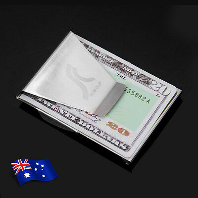 1pc Double Sided Money Clip Note Credit Card Holder Stainless Steel Mens Wallet