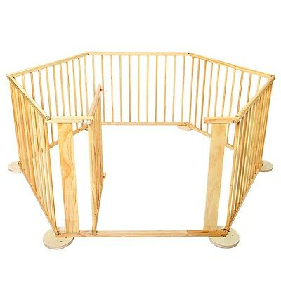 Baby Kids Toddler Deluxe Natural Wooden Playpen Divider Safety Gate 6 Panel #T