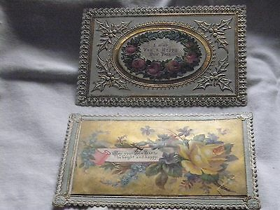 Victorian antique New Years gold and Yellow Rose and pink rose new year cards