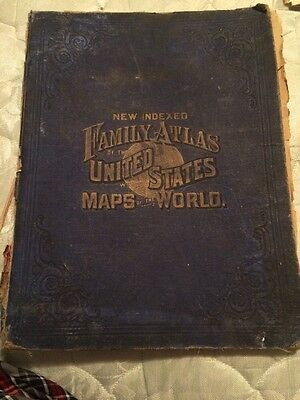 Antique 1882 Family Atlas Of The United States With Maps Of The World Book