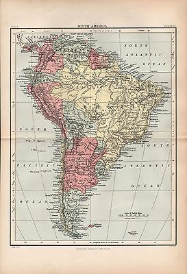 1880 ca ANTIQUE MAP- SOUTH AMERICA, GENERAL MAP
