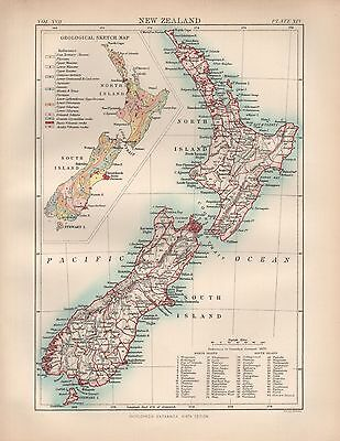 1880 ca ANTIQUE MAP-NEW ZEALAND, INSET GEOLOGICAL MAP