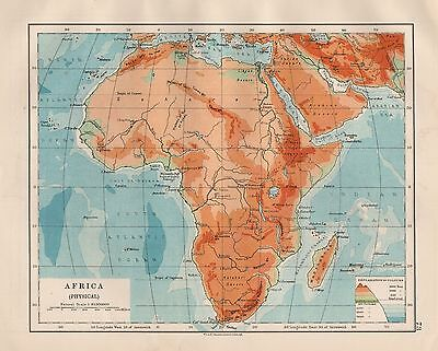 1920 Vintage Map- Africa, Physical