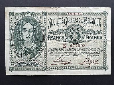 Belgium 5 Francs P88 Queen Louise-Marie German Occupation WW1 Dated 1915 aVF