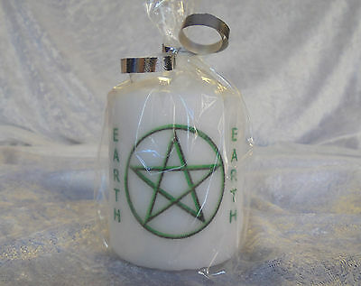 Green Earth Pentagram 8cm Church Candle Pagan Wiccan Celtic Druid Witch Element