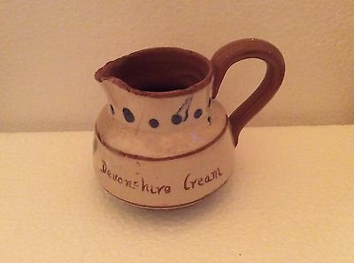 "Vintage Devon Motto Ware Little Cream Jug 'Devonshire Cream' 2.5"" Tall"