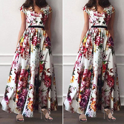 UK Women Summer Vintage Boho Long Maxi Evening Party Beach Dress Floral Sundress
