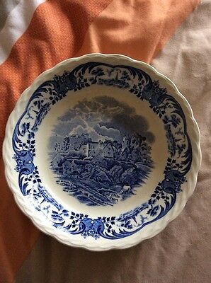 scenes after constable staffordshire plate bowl blue china