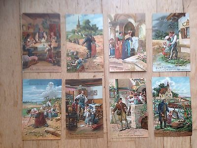 Full Set Lord's Prayer Embossed Post Cards c 1910 VGC
