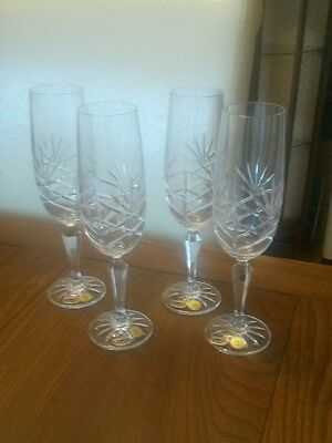 Set 4  BOHEMIA 24% Lead Crystal Cut Glass Champagne/White Wine Flutes Glasses
