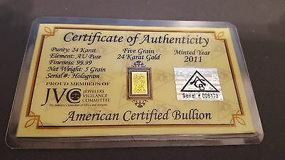 5 Grains Of 24Kt Gold Certificate Of Authenticity