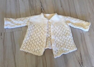 BABY GIRLS Hand Knitted / Crocheted Cream Cardigan New Size 3-6 Months 00