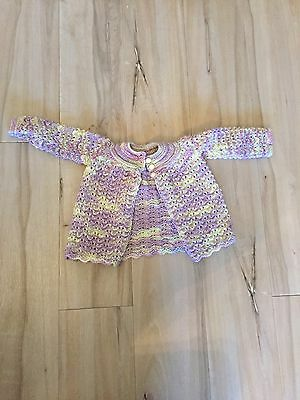BABY GIRLS Hand Knitted / Crocheted Purple Cardigan New Size 0-6 Months