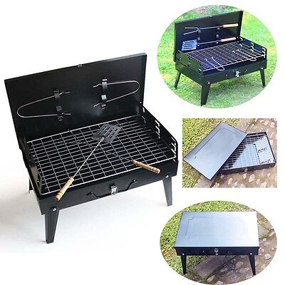 Portable BBQ Barbecue Folding Grill Cover Charcoal Picnic Camping Garden Outdoor