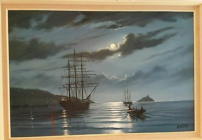 Atmospheric Painting, Oil on Canvas Tall ships at St Ives Artist Keith English.