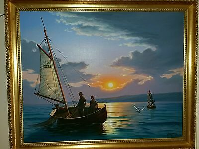 Atmospheric Painting, Oil on Canvas fishing  at St Ives Artist Keith English.