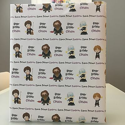 Personalised Harry Potter inspired Birthday Wrapping Paper with 2 tags