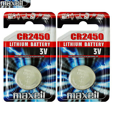 2x Maxell Lithium CR2450 batteries 3V Coin Cell DL2450 BR2450 EXP:2021 Pack of 1