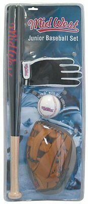 Junior Baseball Set Bat Glove and Ball Kids Sports Activity Outdoor Toy New