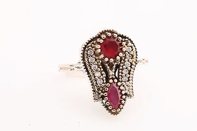 Turkish Handmade Tulip Jewelry Pink Ruby Topaz 925 Sterling Silver Ring Size 8