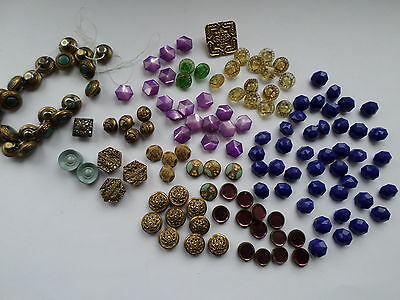 140 small vintage or antique buttons glass and metal