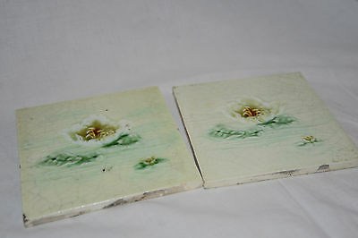 Pair of Vintage Pea, Mint Green Kitchen, Bathroom Wall Tiles with Flowers