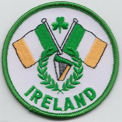 republic of Ireland Irish Double Flag Round Embroidered Patch Badge dublin