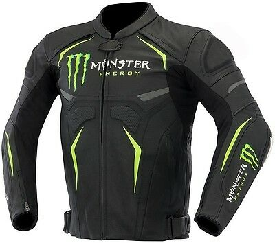 monster energy motorcycle , motorbike leather jacket with armor
