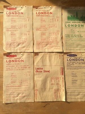 6 British Railways Eastern Region Excursion Handbills 1963/4 London