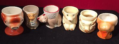 6x Vintage Egg Cups, Pigs ( Pinky And Perky) Duck, Bears, Lustre