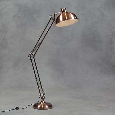 Retro Copper Floor Lamp Angle Poised Design Large Vintage Style Angled Lamp