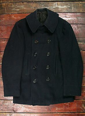 VTG 40s WWII US NAVY KERSEY WOOL PEA COAT CORD POCKETS NAVAL CLOTHING FACTORY 36