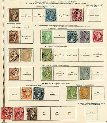 Greece 1861-1885 Page Of Imperf Hermes Heads, From Old Ideal Stamp Album