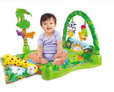 3 in 1 Rainforest Musical Lullaby Baby Activity Play Gym Toy Soft Mat Christmas