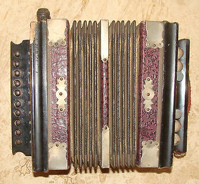 Antique German? Laquered Wood & Brass Accordion - One Row Buttons