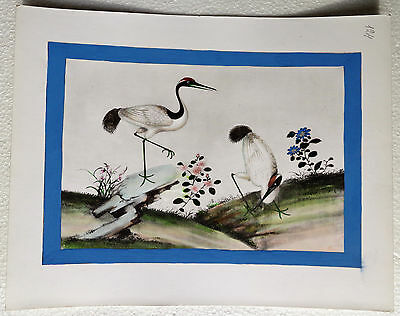 CINA (China): Very fine and old Chinese watercolor print painting - birds (4)