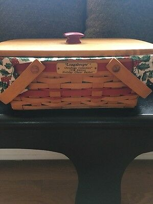 Longaberger 1996 Holiday Cheer Basket Combo Lid Protector Liner