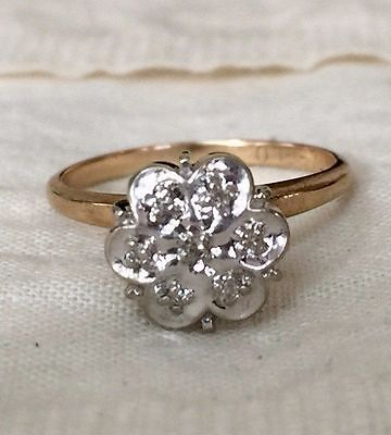 Vintage Diamond Cluster Engagement Ring in 10K Yellow Gold