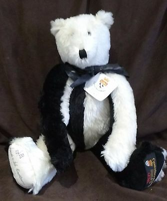 Large Black & White Mohair Canterbury Bear - Domino - L/e 21/100 - New With Tags