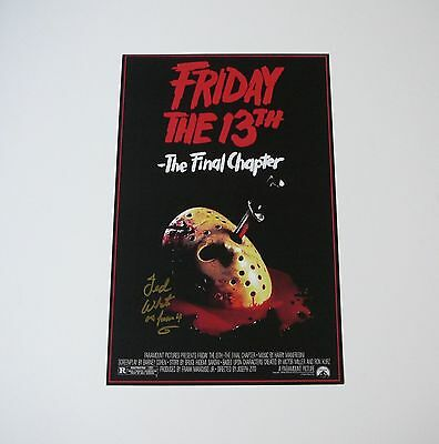 Friday the 13th Final Chapter Jason Voorhees mask 11x17 signed Ted White