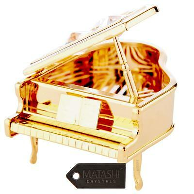 24K Gold Plated Crystal Studded Grand Piano Ornament by Matashi