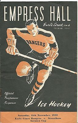 Ice Hockey, Programme For Earls Court Rangers V. Streatham, 1950