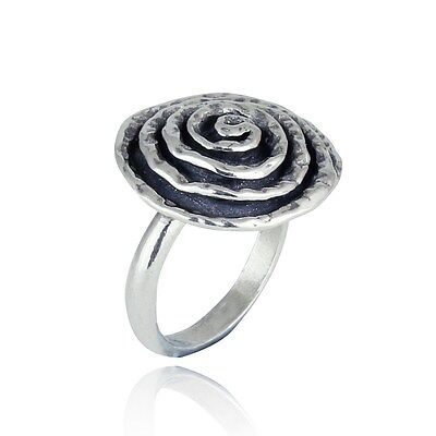 Solid 925 Sterling Silver Spiral Swirl Rose Ring Women's Jewelry Size 7 R051