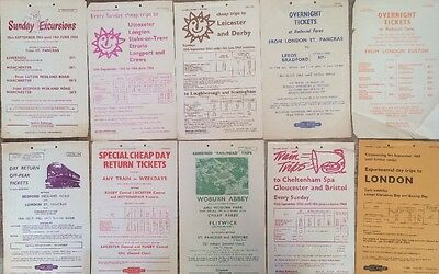 10 British Railways London Midland Region Excursion Handbills 1963