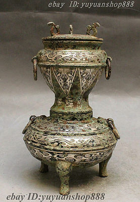 "10"" Folk Collect Chinese Pure Bronze Silver Horse Statue Incnese Burner Censer"
